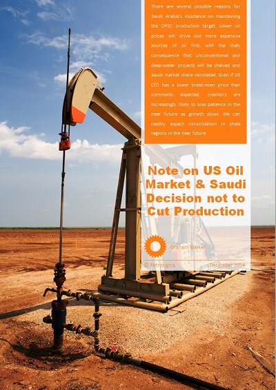 Note on US Oil Market and Saudi's Decision not to Cut Production